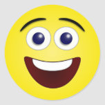 Laughing Smiley 3D Round Sticker