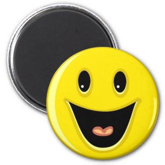 Laughing Smiley Face 6 Cm Round Magnet