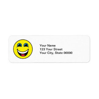 Laughing Smiley Face Yellow Return Address Label
