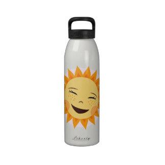 Laughing sun cute cartoon girly water bottle