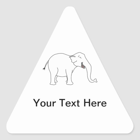 Laughing White Elephant. Triangle Sticker