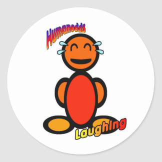 Laughing (with logos) classic round sticker