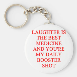 laughter i the best medicine basic round button key ring