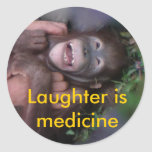 Laughter is Medicine Animals who Laugh Round Sticker