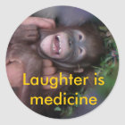 Laughter is Medicine Laughing Animals Classic Round Sticker