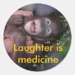 Laughter is Medicine Laughing Animals Round Sticker