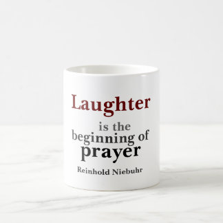 Laughter is the beginning coffee mug