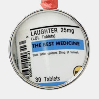 Laughter is the Best Medicine Silver-Colored Round Decoration