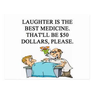 laughter is the best medicine postcard