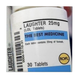 Laughter is the Best Medicine Small Square Tile