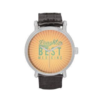 Laughter is the best medicine vintage background wrist watch