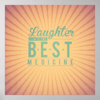 Laughter is the best medicine vintage beige teal print