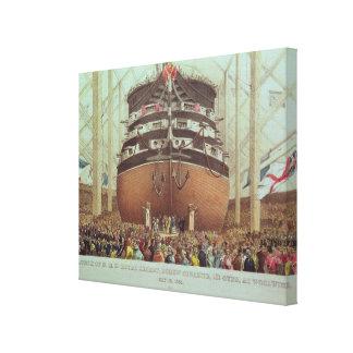 Launch of H.M.S. Royal Albert, Screw Steamer Canvas Print