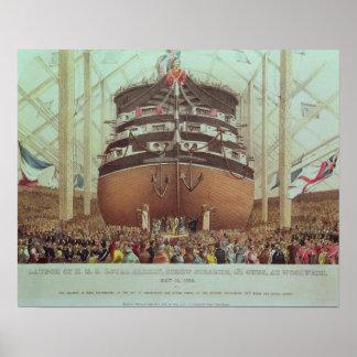 Launch of H.M.S. Royal Albert, Screw Steamer Poster