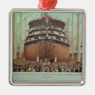 Launch of H.M.S. Royal Albert, Screw Steamer Silver-Colored Square Decoration