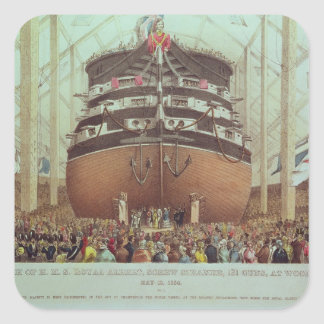 Launch of H.M.S. Royal Albert, Screw Steamer Square Sticker