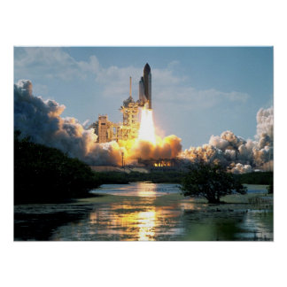 Launch of Space Shuttle Atlantis (STS-110) Poster
