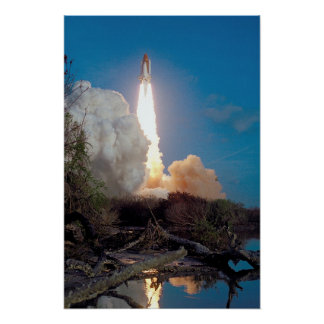 Launch of Space Shuttle Challenger (STS-41B) Poster