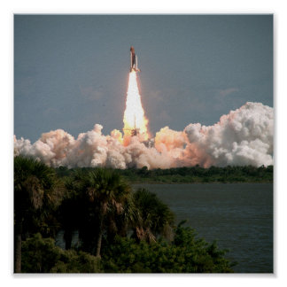 Launch of Space Shuttle Columbia (STS-52) Poster