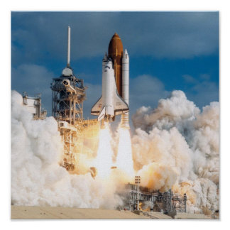 Launch of Space Shuttle Discovery (STS-31) Poster