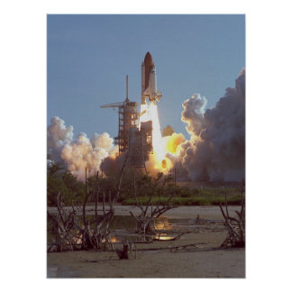 Launch of Space Shuttle Discovery (STS-41D) Poster