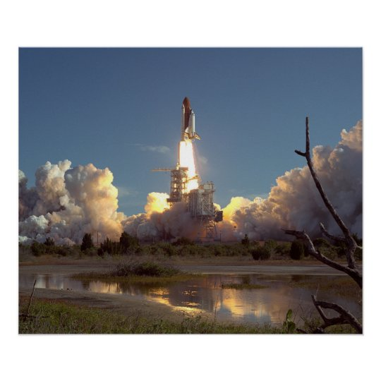 Launch of Space Shuttle Discovery (STS-42) Poster