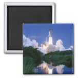 Launch of Space Shuttle Square Magnet