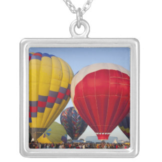 Launching hot air balloons 2 square pendant necklace