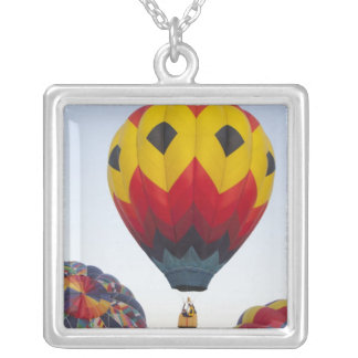Launching hot air balloons square pendant necklace
