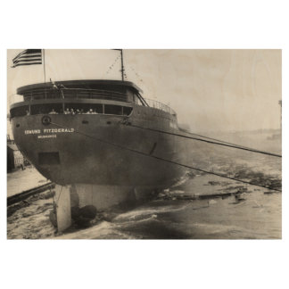 Launching of the S.S. Edmund Fitzgerald Vintage 3 Wood Poster