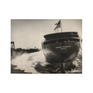 Launching the Edmund Fitzgerald Vintage Maritime Wood Poster