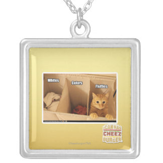 Laundry Cat Silver Plated Necklace