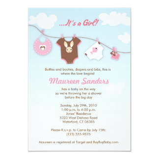LAUNDRY DAY - Baby Shower Invitations - Girl