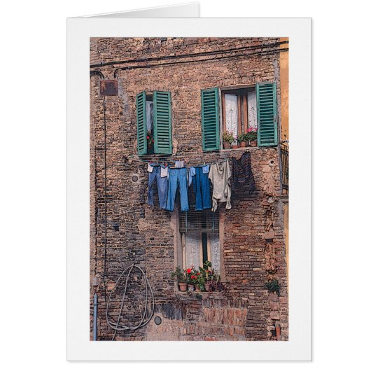 """""""Laundry Day in Italy"""" photographic greeting card"""