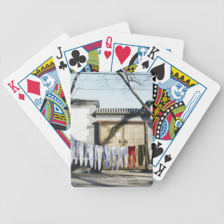 Laundry Drying on Clotheslines Bicycle Playing Cards