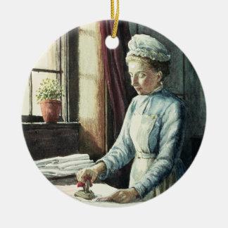 Laundry Maid, c.1880 Round Ceramic Decoration