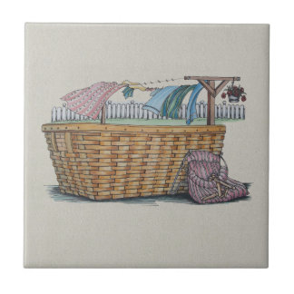 Laundry On Clothesline Small Square Tile