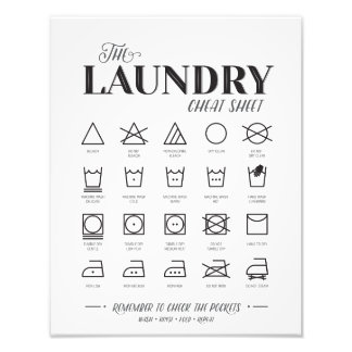 Laundry Room Cheat Sheet Photographic Print