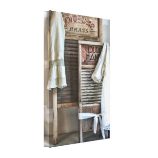 Laundry Room Decor Vintage Antique Washboard Stretched Canvas Print
