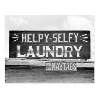 Laundry Sign, 1938 Postcard