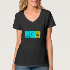 Shirt featuring the name Laura spelled out in symbols of the chemical elements