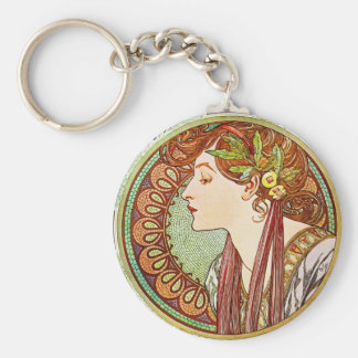 Laurel - Alphonse Mucha Basic Round Button Key Ring