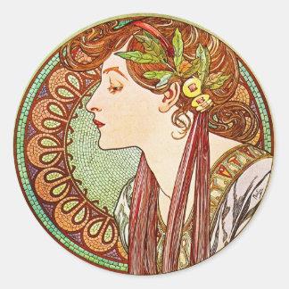 Laurel - Alphonse Mucha Round Stickers
