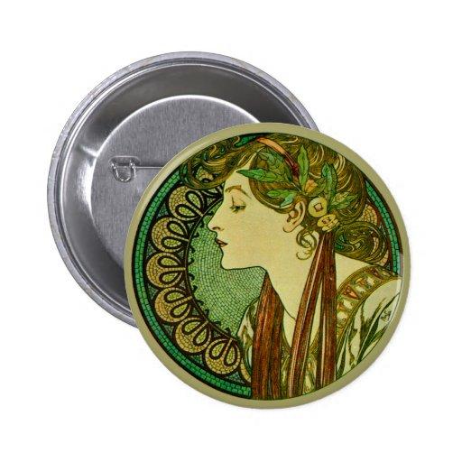 Laurel, Alphonse Mucha Vintage Art Nouveau Buttons