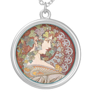 Laurel, Art Nouveau Illustration by Alphonse Mucha Silver Plated Necklace
