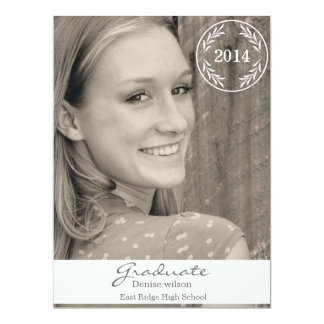 Laurel Border Stamp Graduation Photo Invitation