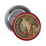 Laurel by Alphonse Mucha 6 Cm Round Badge