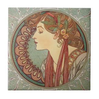 Laurel by artist Alphonse Mucha art nouveau Small Square Tile