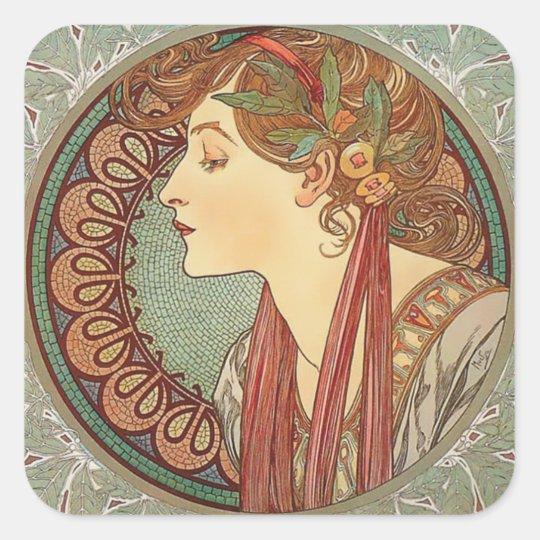 Laurel by artist Alphonse Mucha art nouveau Square