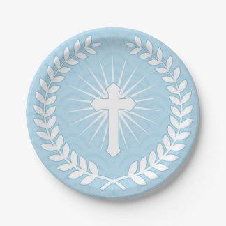 Laurel, Cross, Blue Religious 7 Inch Paper Plate
